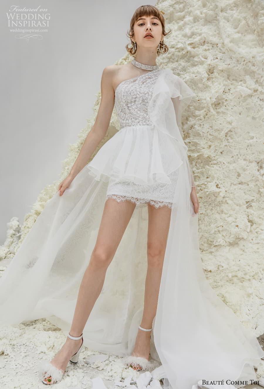 beaute comme toi spring 2022 bridal one shoulder heavily embellished bodice romantic mini short wedding dress a line overskirt chapel train (patricia) mv