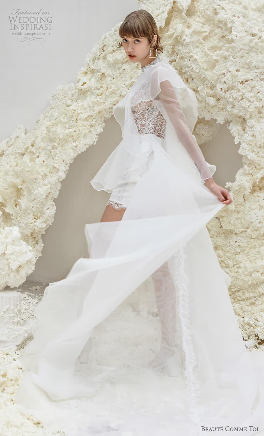 beaute comme toi spring 2022 bridal one shoulder heavily embellished bodice romantic mini short wedding dress a line overskirt chapel train (patricia) sv