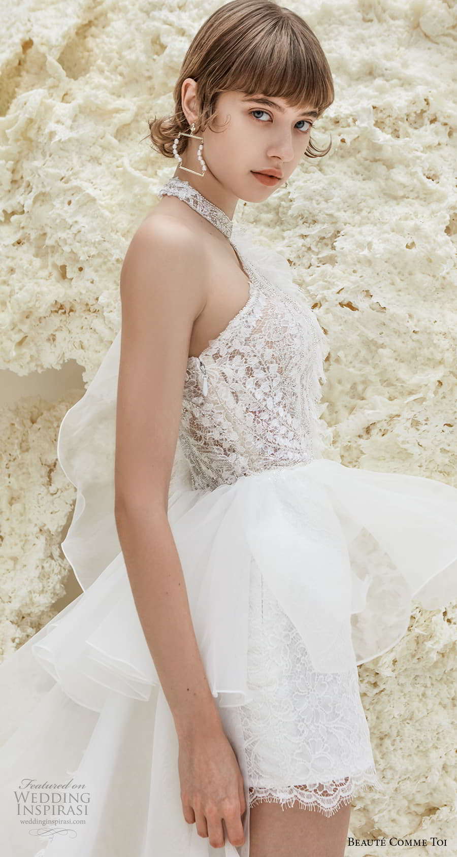 beaute comme toi spring 2022 bridal one shoulder heavily embellished bodice romantic mini short wedding dress a line overskirt chapel train (patricia) zsv