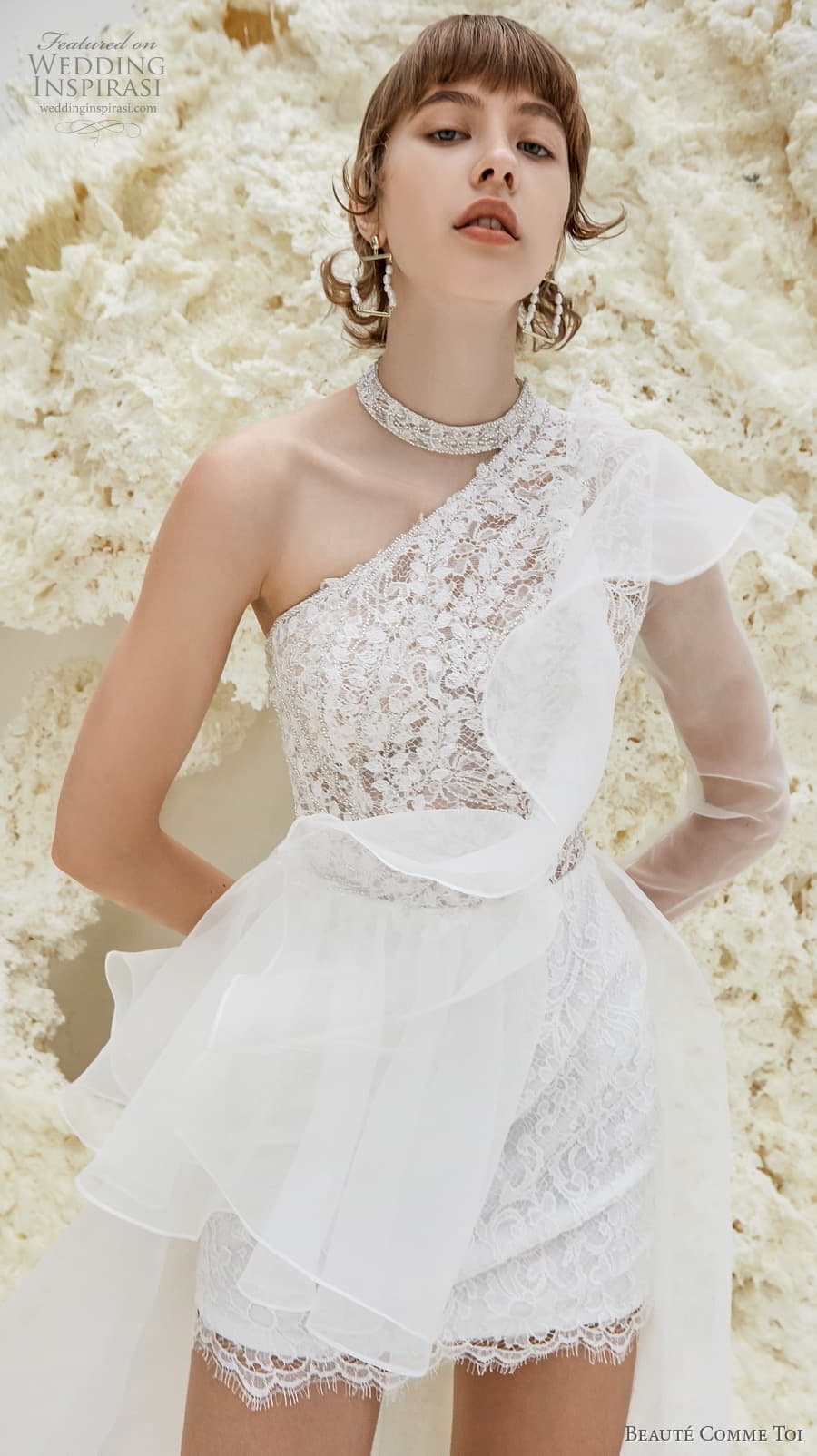 beaute comme toi spring 2022 bridal one shoulder heavily embellished bodice romantic mini short wedding dress a line overskirt chapel train (patricia) zv