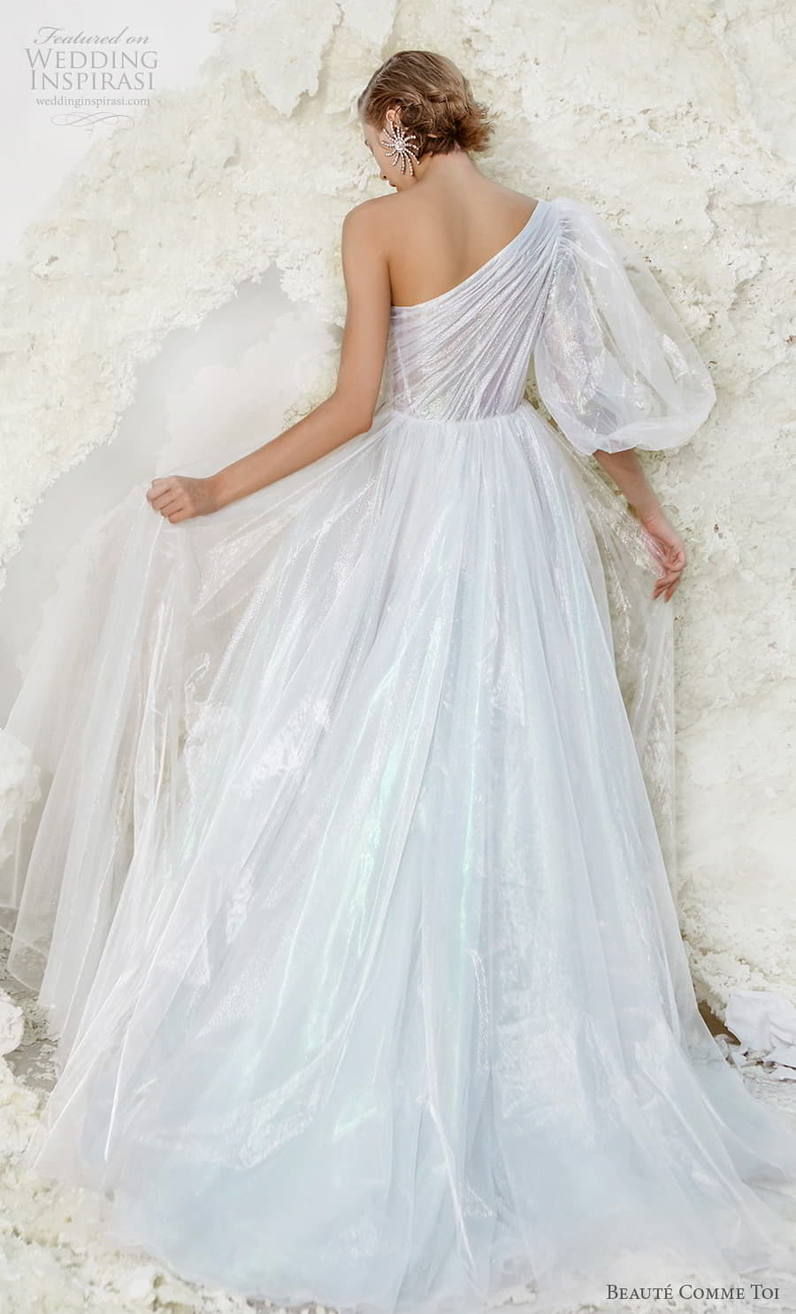 beaute comme toi spring 2022 bridal one shoulder three quarter bishop sleeves ruched bodice glitter elegant a line wedding dress slit skirt chapel train (verna) bv