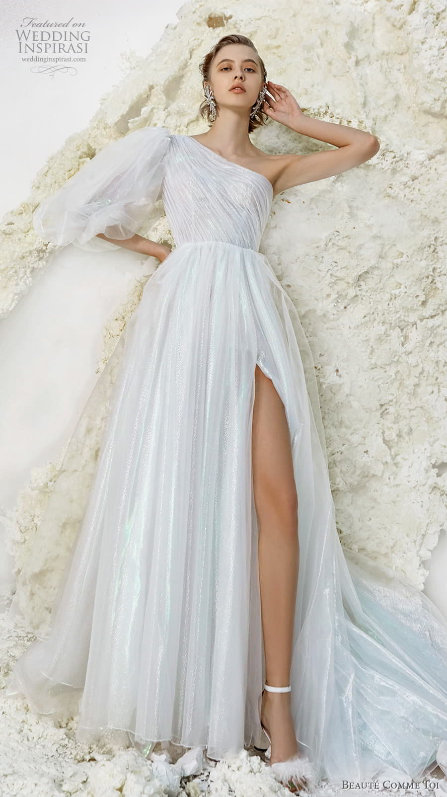 beaute comme toi spring 2022 bridal one shoulder three quarter bishop sleeves ruched bodice glitter elegant a line wedding dress slit skirt chapel train (verna) mv