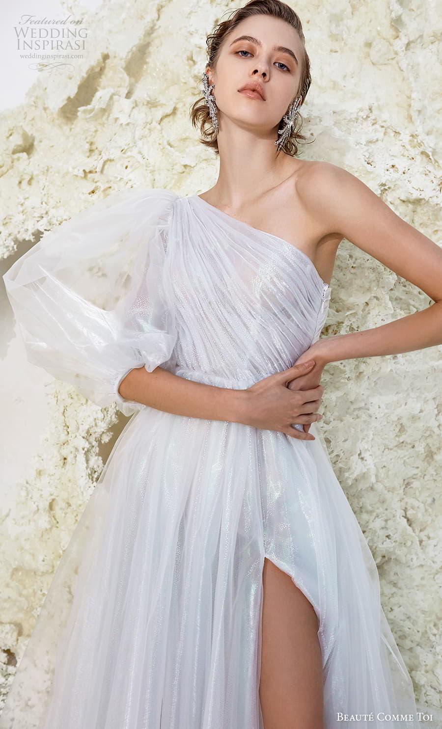 beaute comme toi spring 2022 bridal one shoulder three quarter bishop sleeves ruched bodice glitter elegant a line wedding dress slit skirt chapel train (verna) zv