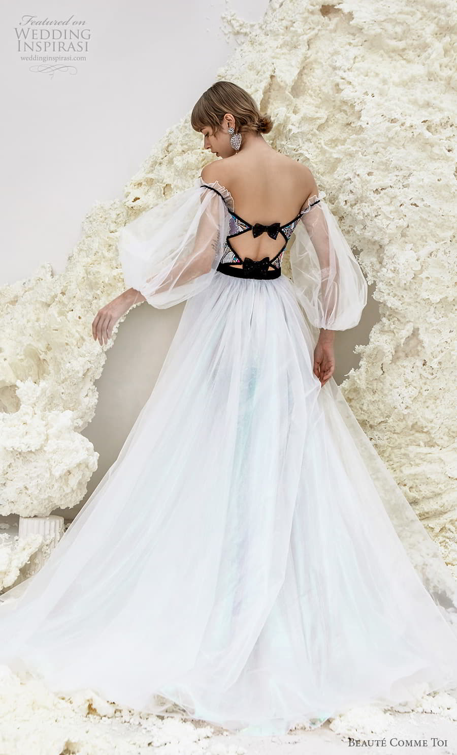 beaute comme toi spring 2022 bridal sheer bishop sleeves off shoulder semi sweetheart neckline cutout bodice a line ball gown wedding dress (isla) bv