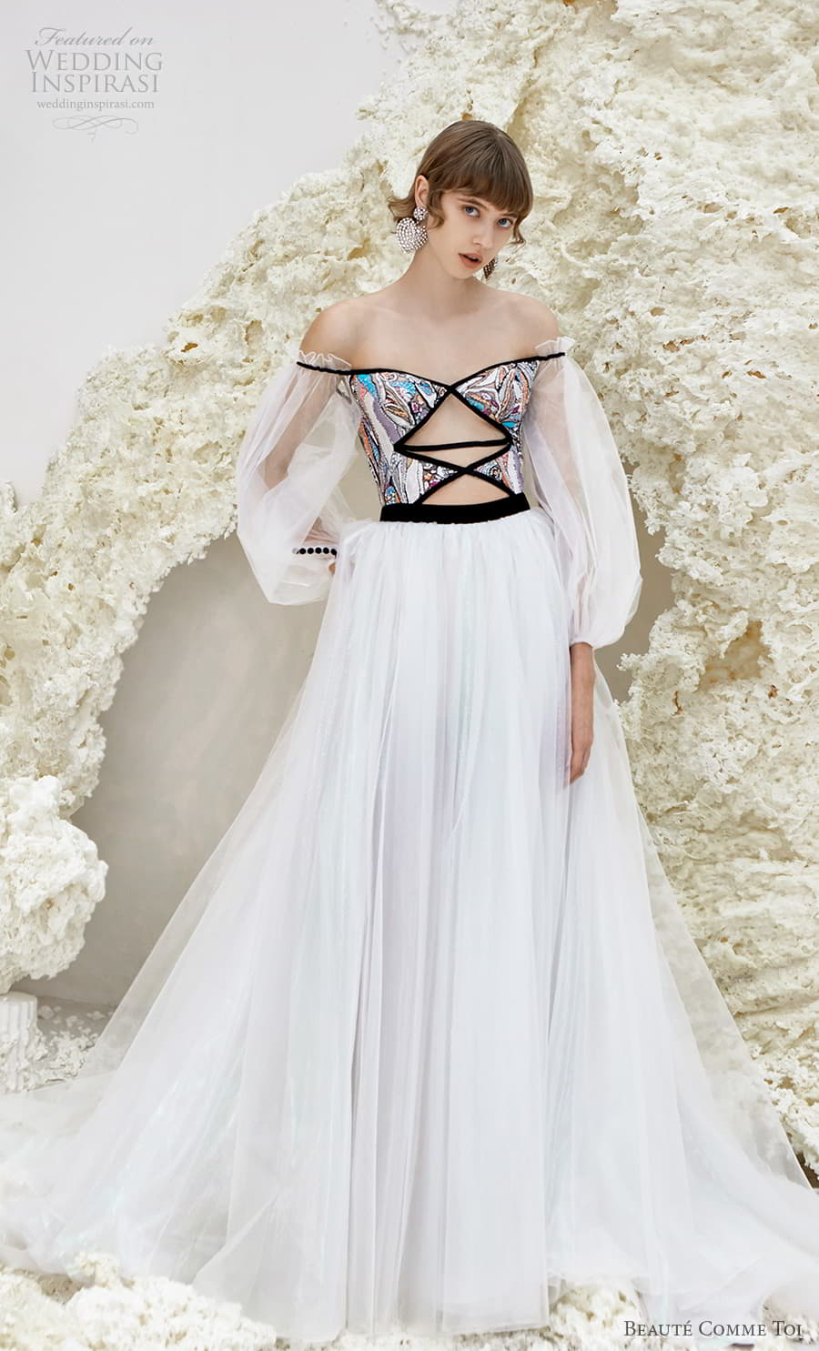 beaute comme toi spring 2022 bridal sheer bishop sleeves off shoulder semi sweetheart neckline cutout bodice a line ball gown wedding dress (isla) mv