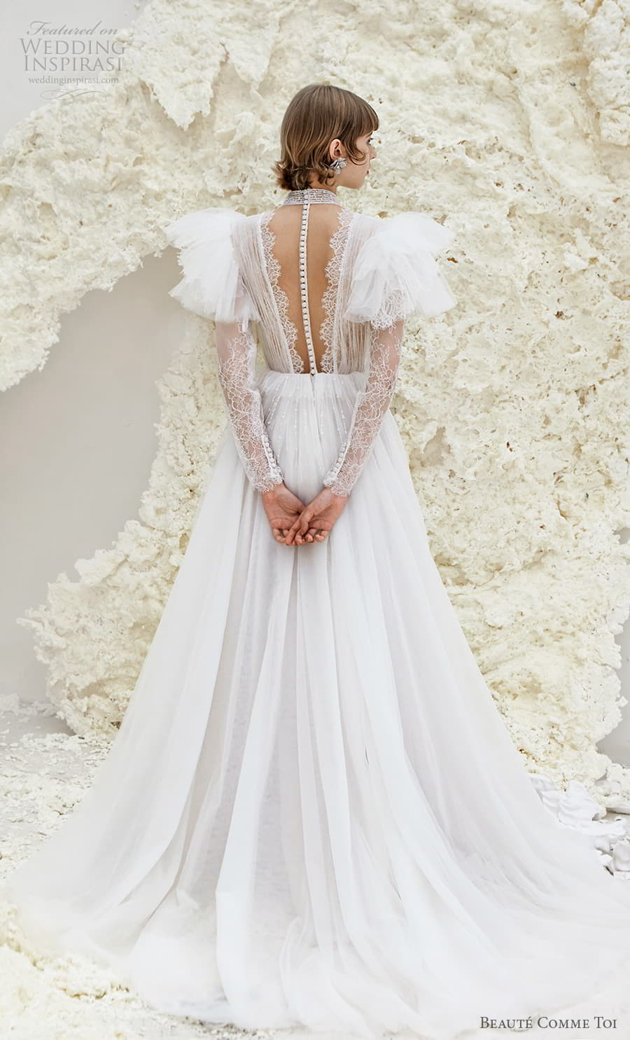 beaute comme toi spring 2022 bridal sheer long flutter sleeve plunging v neckline ruched lace bodice a line ball gown wedding dress chapel train (reese) bv