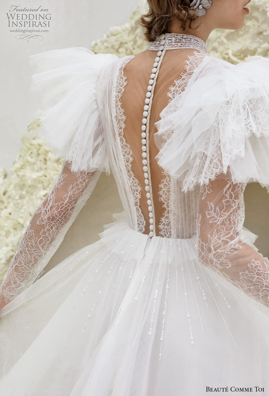 beaute comme toi spring 2022 bridal sheer long flutter sleeve plunging v neckline ruched lace bodice a line ball gown wedding dress chapel train (reese) zbv