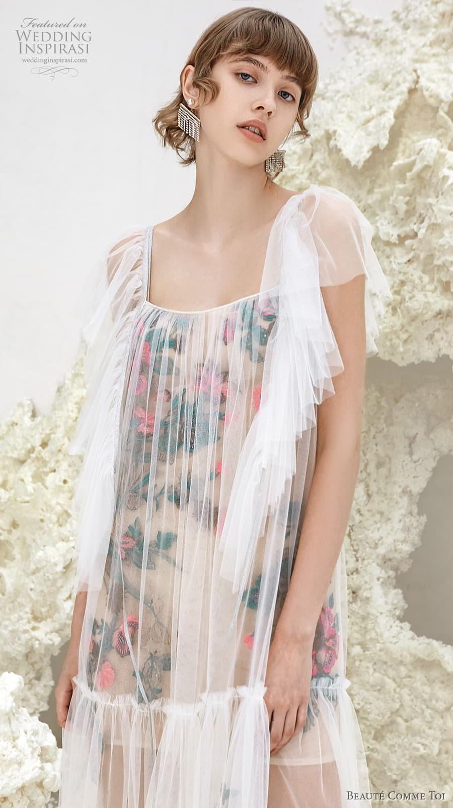 beaute comme toi spring 2022 bridal short handkerchief sleeves square neckline vintage art deco short wedding dress (sicily) zv