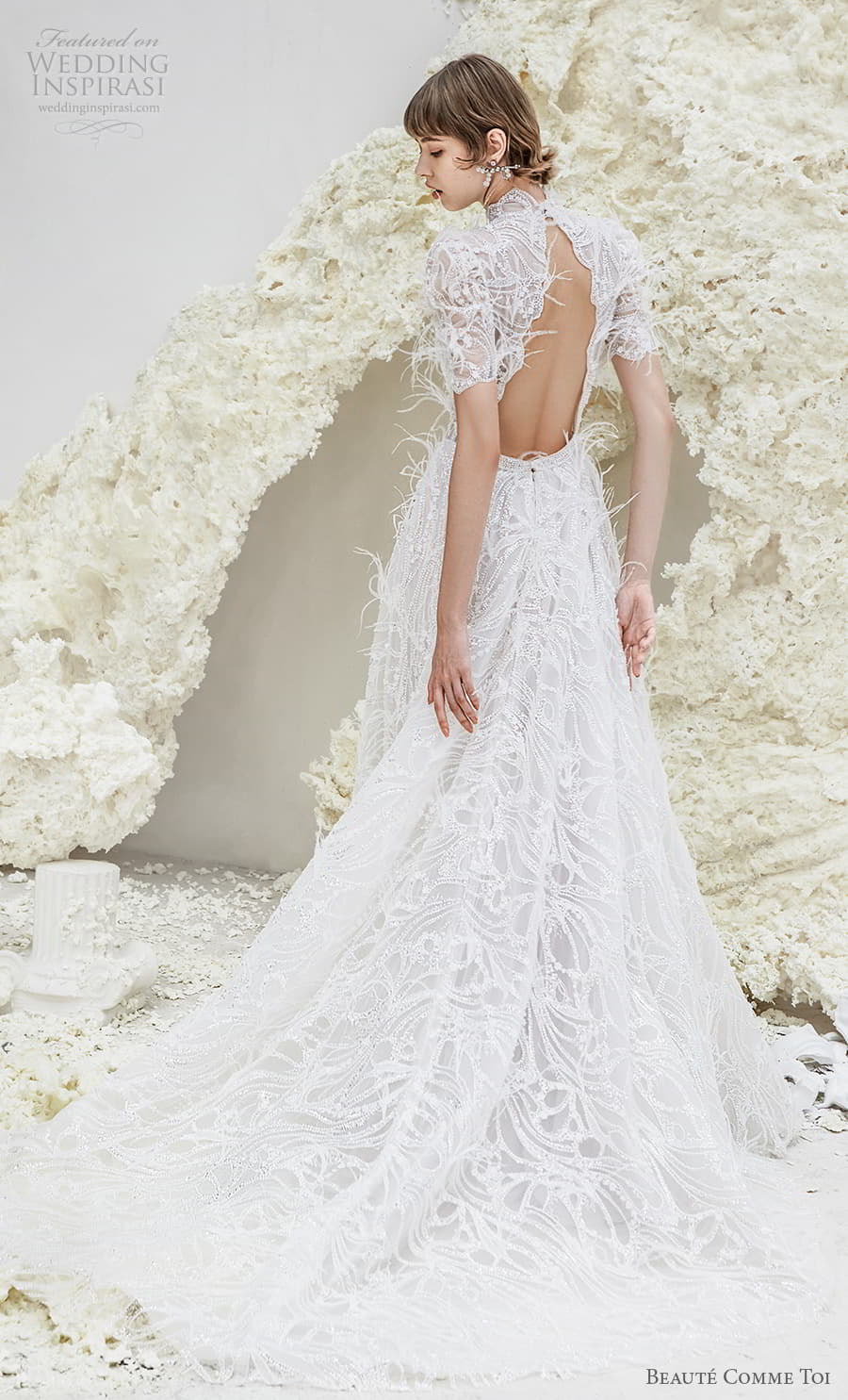 beaute comme toi spring 2022 bridal short puff sleeves high neckline fully embellished a line wedding dress feather chapel train (sheila) bv