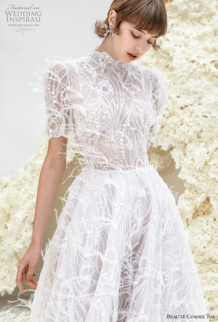 beaute comme toi spring 2022 bridal short puff sleeves high neckline fully embellished a line wedding dress feather chapel train (sheila) zv