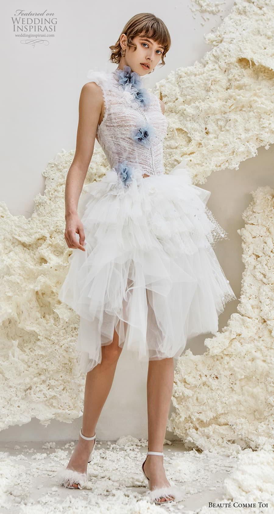 beaute comme toi spring 2022 bridal sleeveless high neck ruched bodice pretty short wedding dress ruffled skirt keyhole back (galina) mv