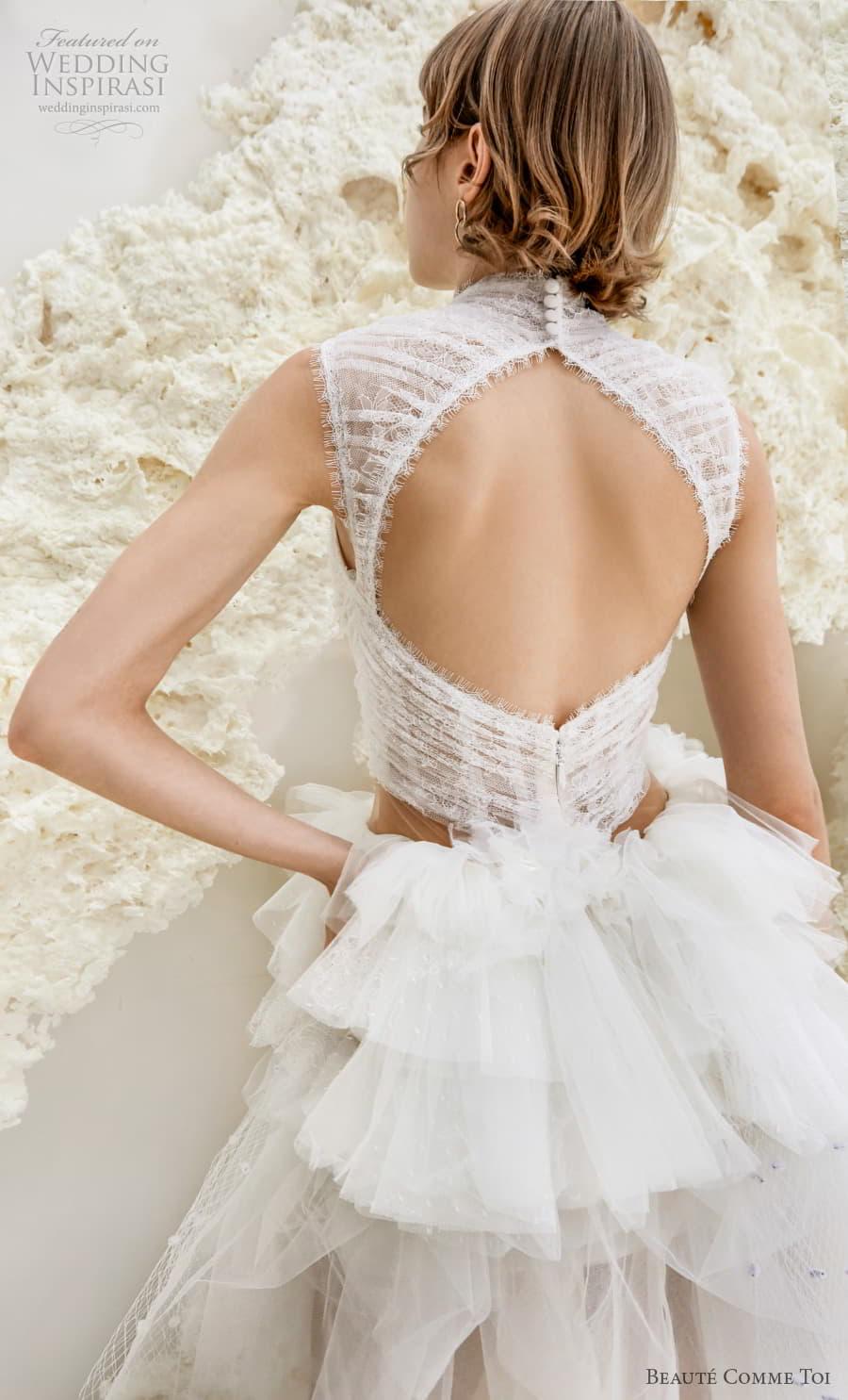 beaute comme toi spring 2022 bridal sleeveless high neck ruched bodice pretty short wedding dress ruffled skirt keyhole back (galina) zbv