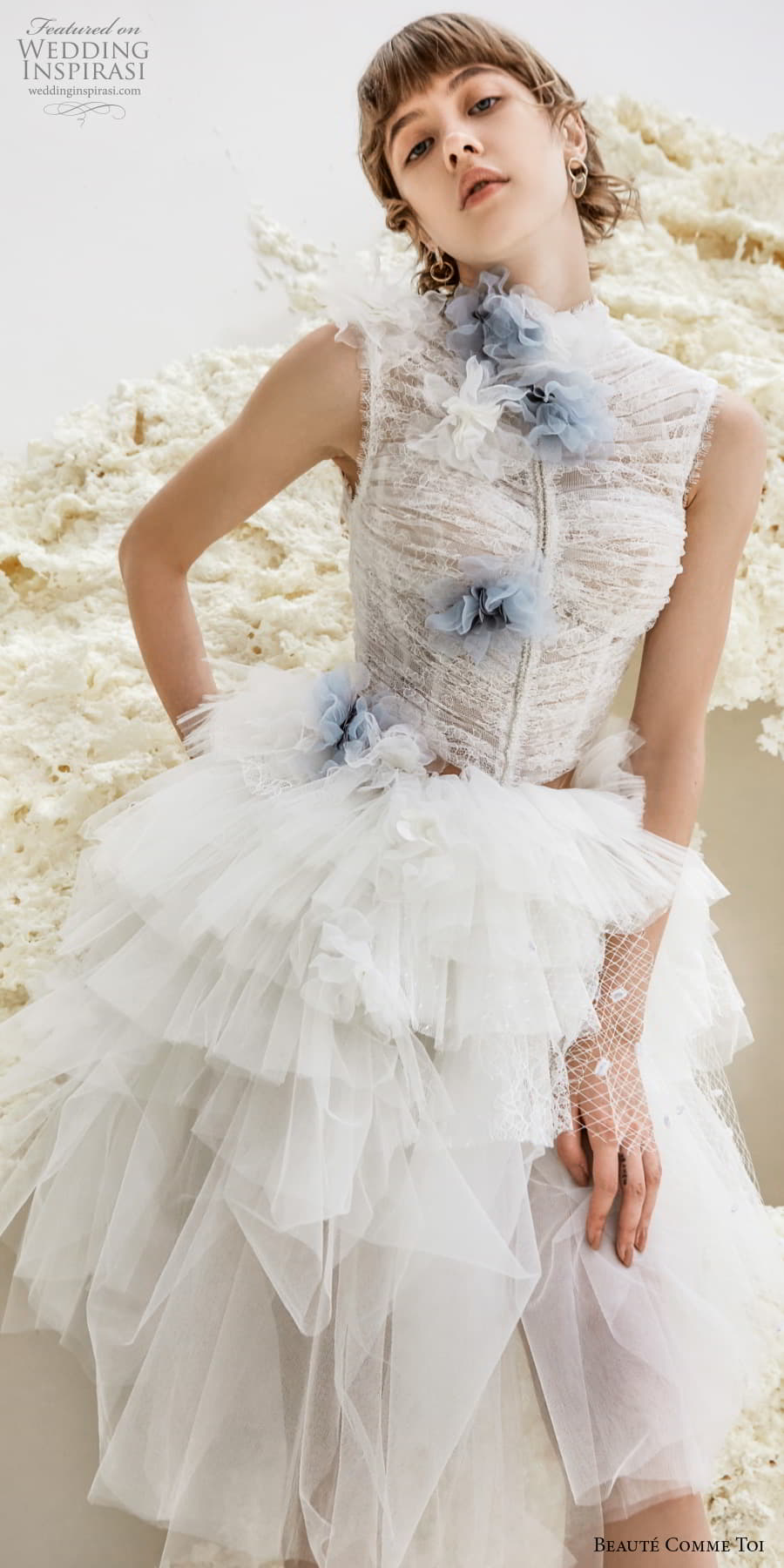 beaute comme toi spring 2022 bridal sleeveless high neck ruched bodice pretty short wedding dress ruffled skirt keyhole back (galina) zv