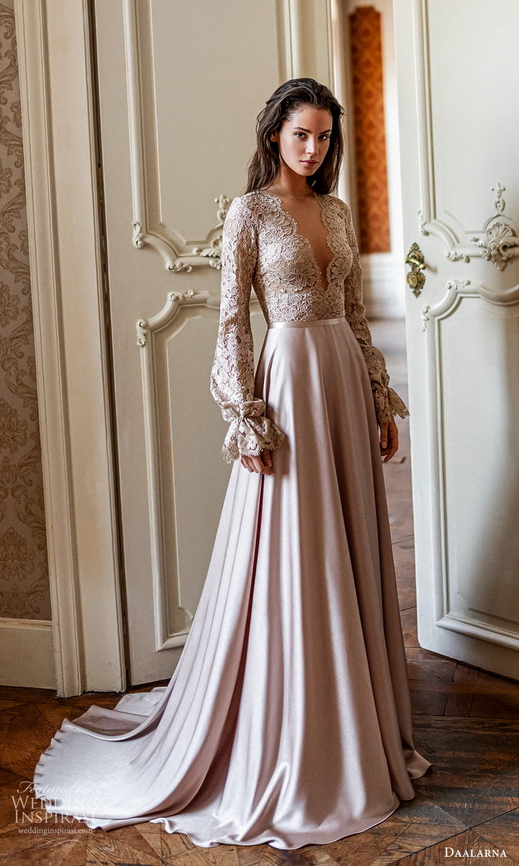 daalarna spring 2022 bridal bishop sleeves scallop v neckline embellished lace bodice clean skirt a line wedding dress chapel train (17) mv