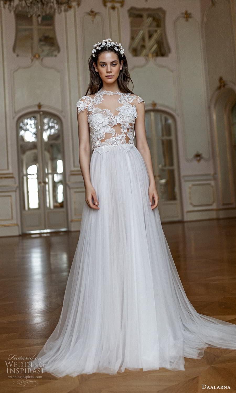 daalarna spring 2022 bridal cap sleeve jewel neckline sheer embellished lace bodice clean skirt a line ball gown wedding dress chapel train (13) mv