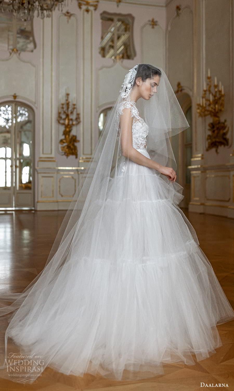 daalarna spring 2022 bridal cap sleeve jewel neckline sheer embellished lace bodice clean skirt a line ball gown wedding dress chapel train (13) sv