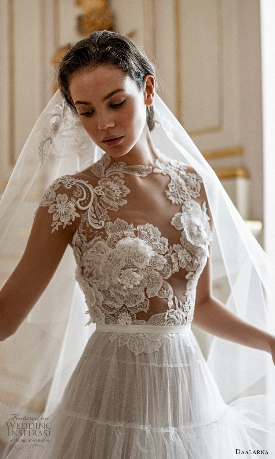 daalarna spring 2022 bridal cap sleeve jewel neckline sheer embellished lace bodice clean skirt a line ball gown wedding dress chapel train (13) zv