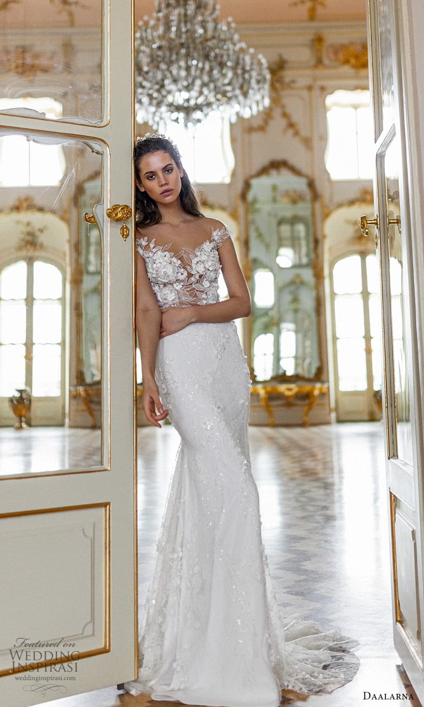 daalarna spring 2022 bridal cap sleeve off shoulder sweethaert neckline embellished bodice lace sheath wedding dress sweep train (14) mv
