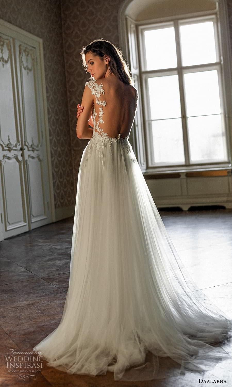 daalarna spring 2022 bridal cap sleeves plunging v neckline embellished bodice a line ball gown wedding dress sweep train (16) bv