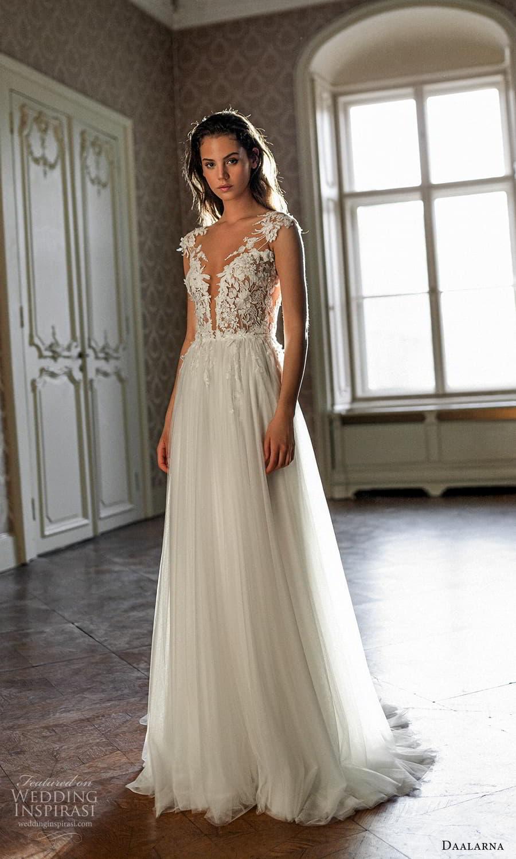 daalarna spring 2022 bridal cap sleeves plunging v neckline embellished bodice a line ball gown wedding dress sweep train (16) mv