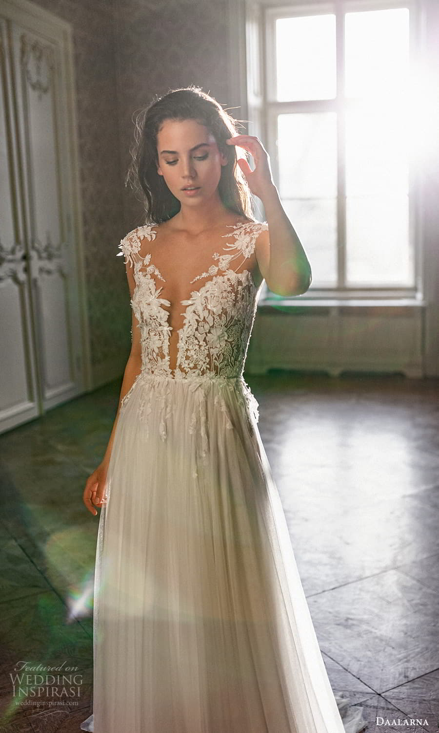 daalarna spring 2022 bridal cap sleeves plunging v neckline embellished bodice a line ball gown wedding dress sweep train (16) zv