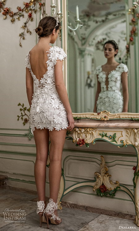 daalarna spring 2022 bridal cap sleeves plunging v neckline fully embellished lace short wedding dress (30) bv