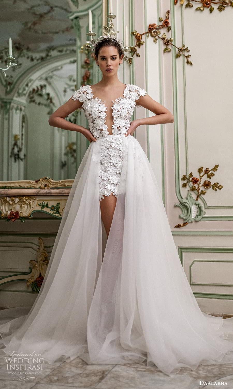 daalarna spring 2022 bridal cap sleeves plunging v neckline fully embellished lace short wedding dress a line overskirt chapel train (30) mv