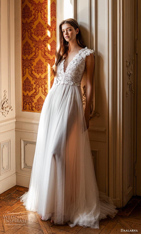 daalarna spring 2022 bridal cap sleeves v neckline embellished bodice a line wedding dress chapel train (21) mv