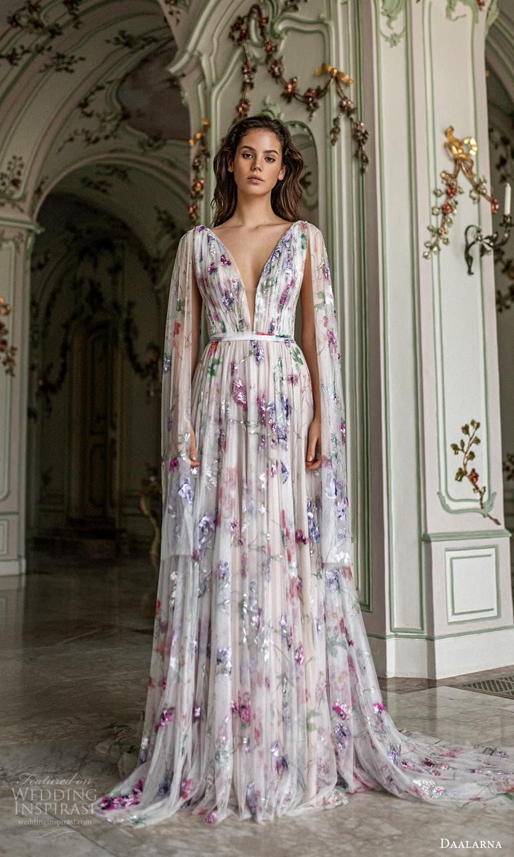 daalarna spring 2022 bridal cape sleeves plunging v neckline fully embellished a line wedding dress multicolor chapel train (33) mv