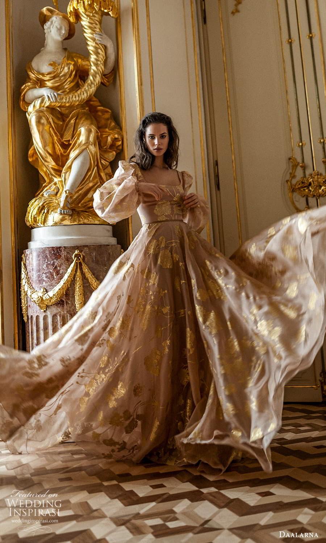daalarna spring 2022 bridal long puff sleeves square neckline embellished a line wedding dress chapel train gold blush (31) fv
