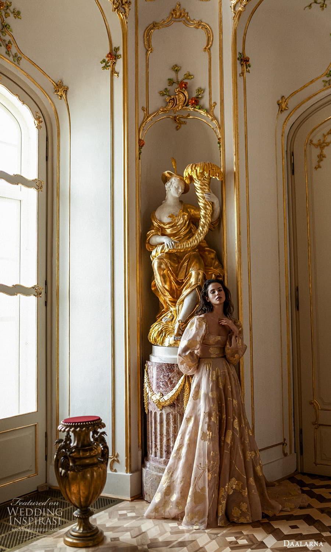 daalarna spring 2022 bridal long puff sleeves square neckline embellished a line wedding dress chapel train gold blush (31) mv