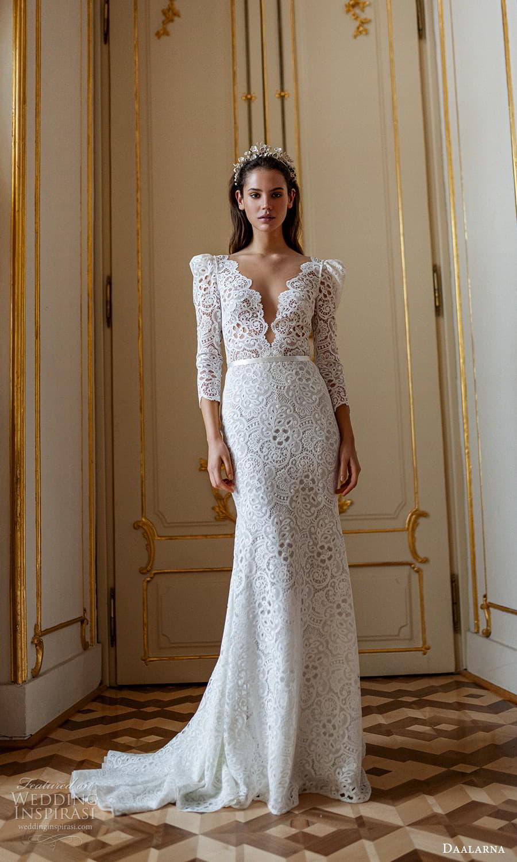 daalarna spring 2022 bridal long puff sleeves v neckline fully embellished lace sheath wedding dress chapel train (1) mv