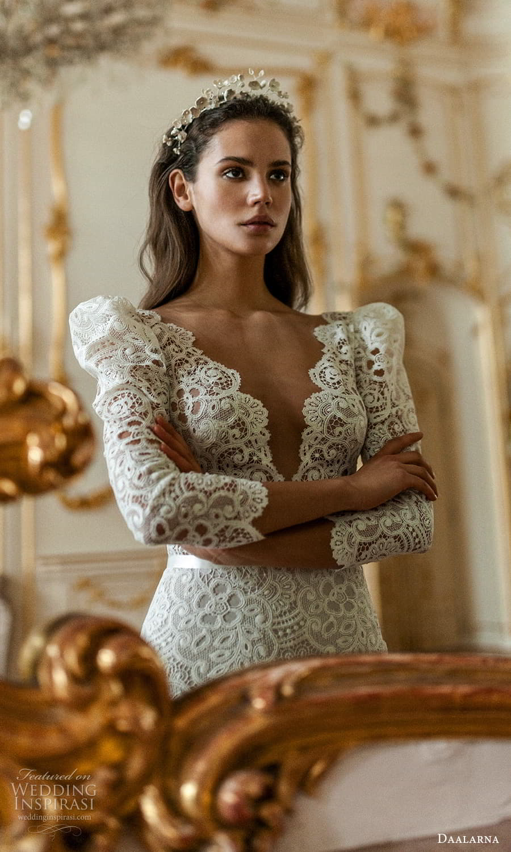 daalarna spring 2022 bridal long puff sleeves v neckline fully embellished lace sheath wedding dress chapel train (1) zv