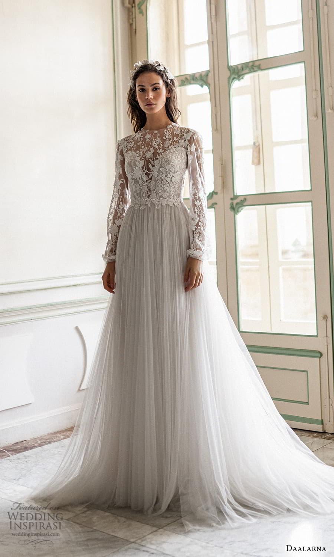 daalarna spring 2022 bridal sheer long bishop sleeves jewel neckline embellished bodice clean skirt a line wedding dress chapel train (9) mv