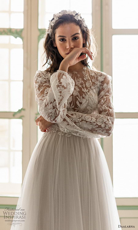 daalarna spring 2022 bridal sheer long bishop sleeves jewel neckline embellished bodice clean skirt a line wedding dress chapel train (9) zv