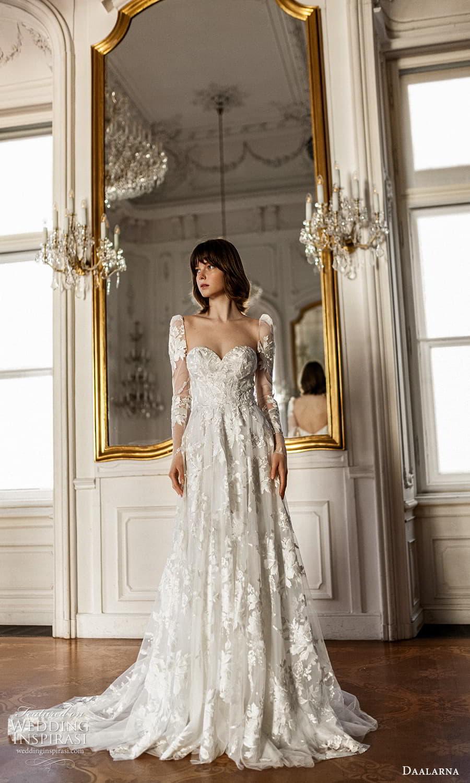 daalarna spring 2022 bridal sheer long puff sleeve sweetheart neckline embellished lace a line wedding dress chapel train (23) mv