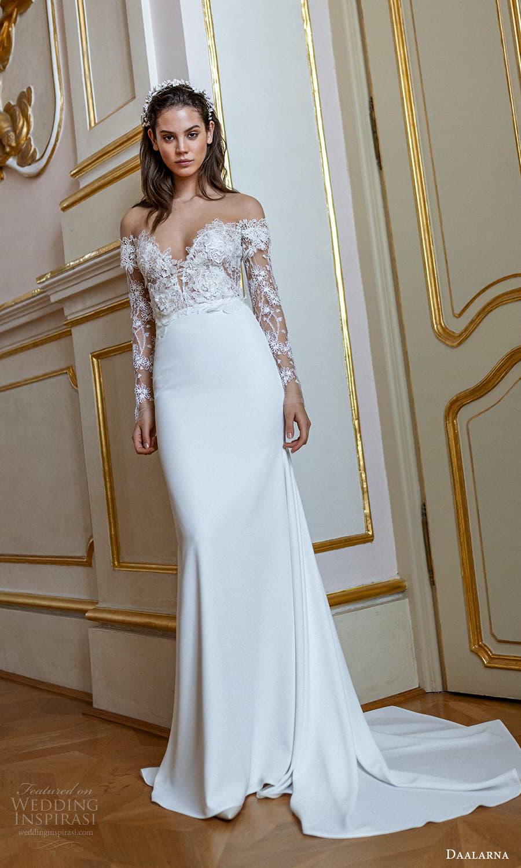 daalarna spring 2022 bridal sheer long sleeve off shoulder sweetheart neckline embellished lace bodice clean skirt sheath wedding dress chapel train (7) mv