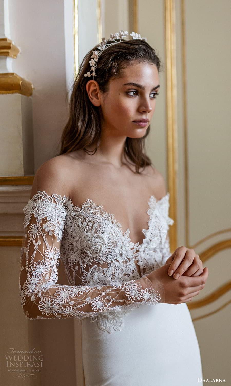 daalarna spring 2022 bridal sheer long sleeve off shoulder sweetheart neckline embellished lace bodice clean skirt sheath wedding dress chapel train (7) zv