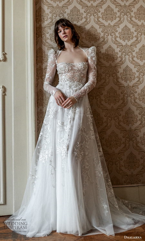 daalarna spring 2022 bridal sheer long sleeve puff sleeves straight across neckline fully embellished lace a line wedding dress (27) mv