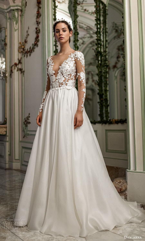 daalarna spring 2022 bridal sheer long sleeves v neckline embellished bodice clean skirt a line wedding dress chapel train (2) mv