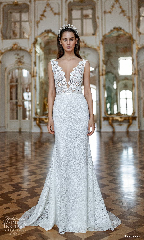 daalarna spring 2022 bridal sleeeless straps plunging v necklnie embellished lace sheath wedding dress (26) mv