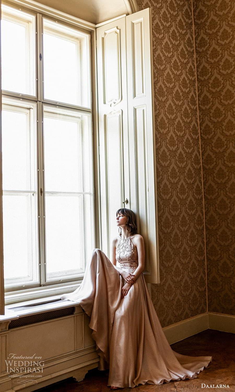 daalarna spring 2022 bridal sleeveless high neckline embellished lace bodice clean skirt a line wedding dress (19) mv