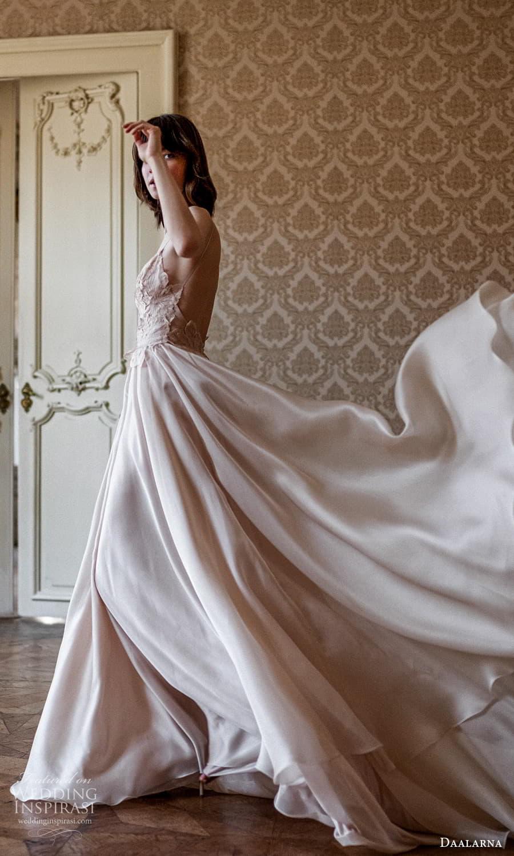 daalarna spring 2022 bridal sleeveless high neckline embellished lace bodice clean skirt a line wedding dress (20) sv
