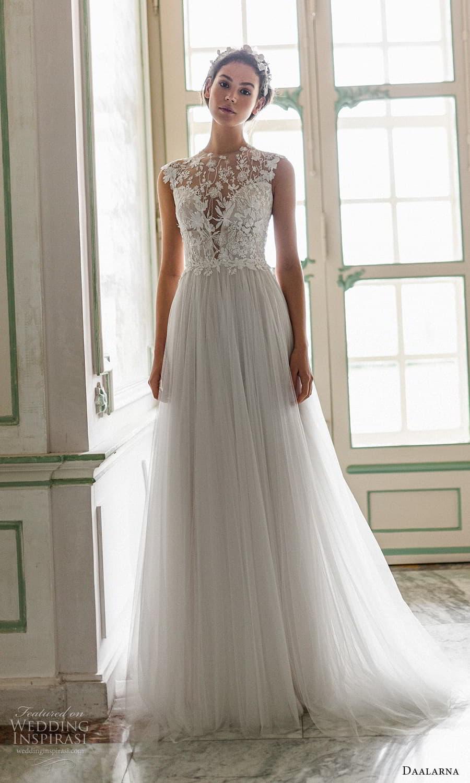 daalarna spring 2022 bridal sleeveless jewel neckline embellished bodice clean skirt a line wedding dress chapel train (9) mv
