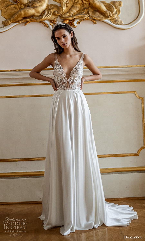 daalarna spring 2022 bridal sleeveless sheer straps plunging v neckline embellished bodice clean skirt a line wedding dress (12) mv