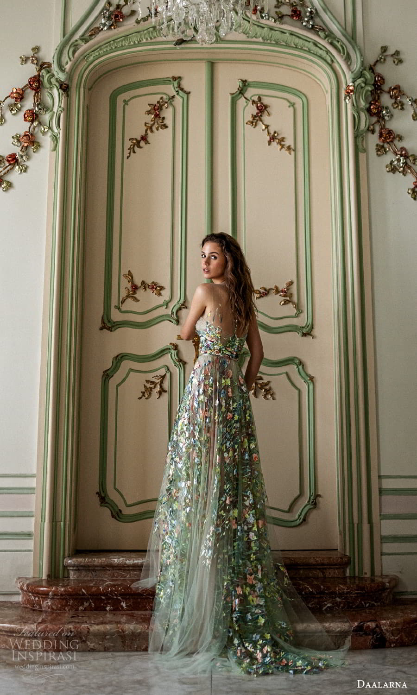 daalarna spring 2022 bridal sleeveless sheer straps straight across neckline fully embellished a line wedding dress chapel train green metallic (32) bv