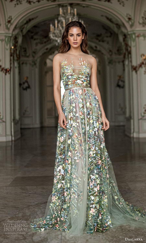 daalarna spring 2022 bridal sleeveless sheer straps straight across neckline fully embellished a line wedding dress chapel train green metallic (32) mv