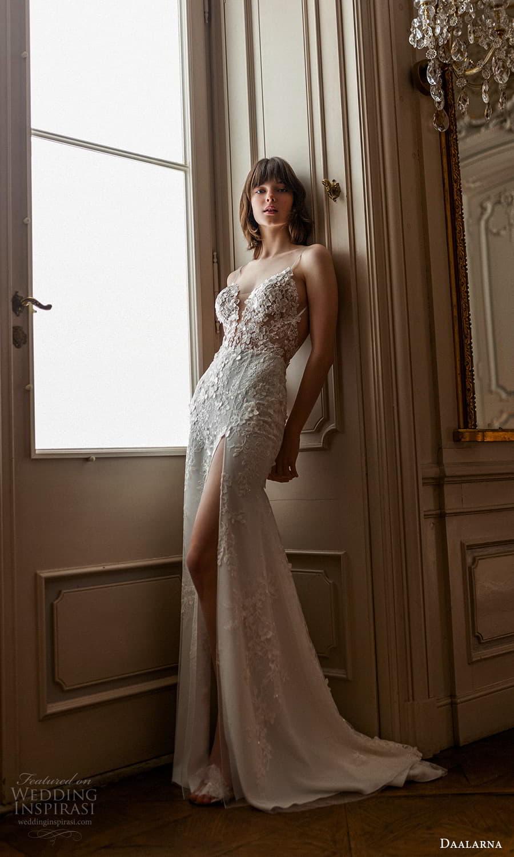 daalarna spring 2022 bridal sleeveless straps plunging sweetheart necklne fully embellished lace sheath wedding dress sweep train (6) mv