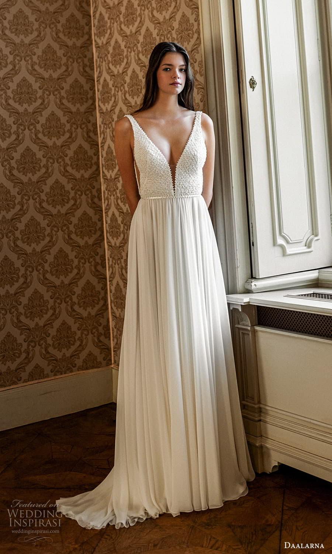 daalarna spring 2022 bridal sleeveless straps plunging v neckline embellished bodice a line wedding dress (24) mv