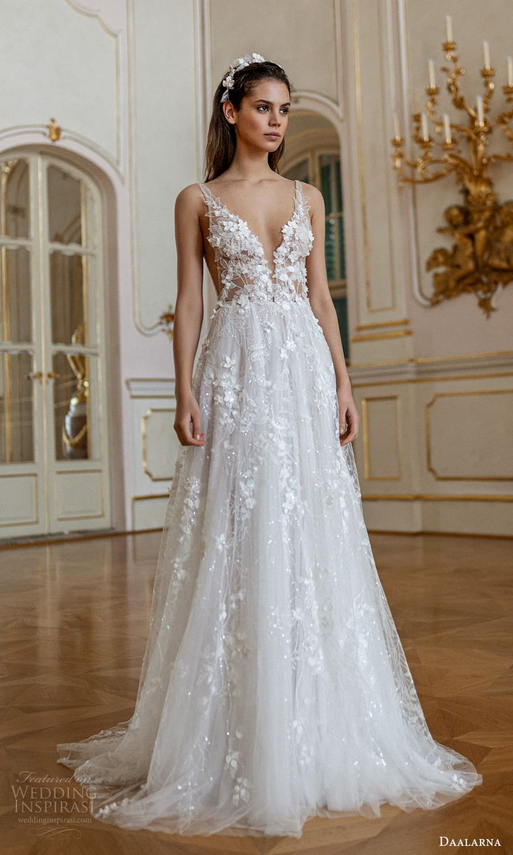 daalarna spring 2022 bridal sleeveless straps plunging v neckline fully embellished a line wedding dress chapel train (8) mv